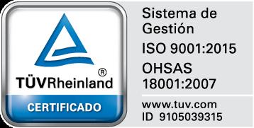 Certificado TÜV Rheinland ID: 910503315. Sistema de Gestión ISO 9001:2015 OHSAS 18001:2007